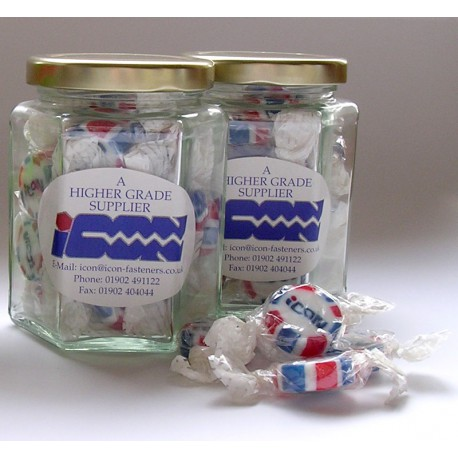 Hexagonal Glass Jar Containing Personalised Rock Sweets